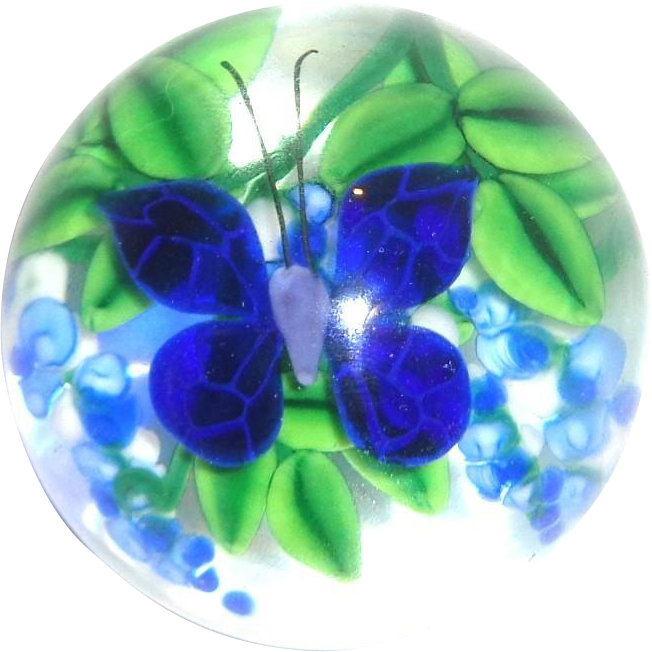 Steven Lundberg Personally Signed Vintage Paperweight With Butterfly And Flowers