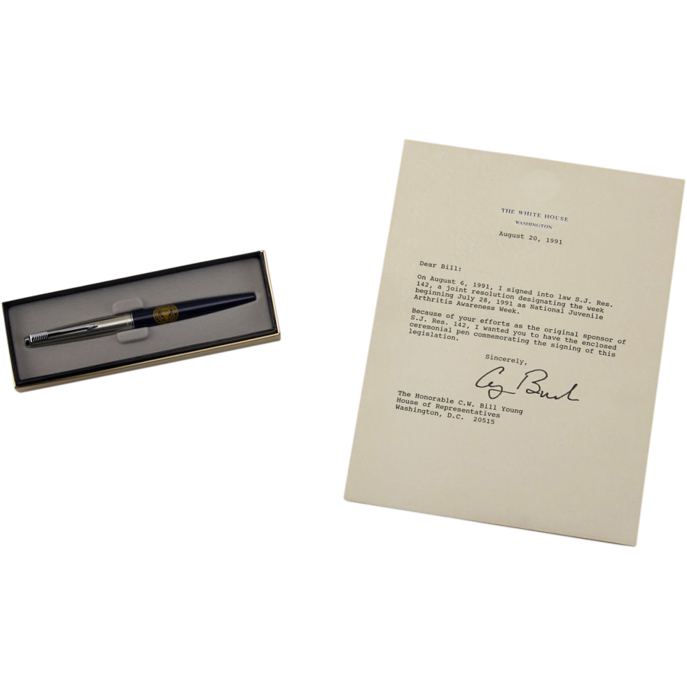 President George W. Bush - Signed Letter And Commemorative Ballpoint With Presidential Seal