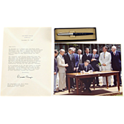 President Ronald Reagan Signed Letter, Presidential Signing Pen and Color Photo Of The Bill Signing
