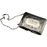 Antique Sterling Silver Ladies Necessaire or Compact Case With Floral Design