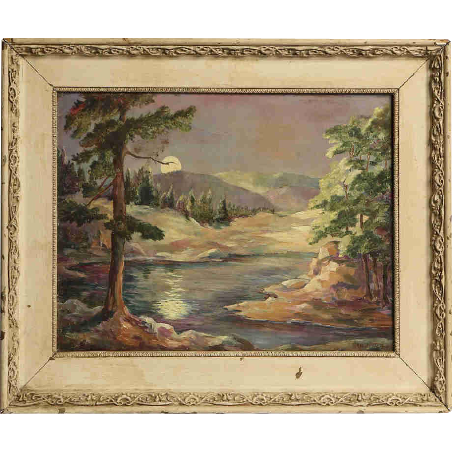 """""""Night In The Woods"""" Original Oil Painting By ADELE PRATT (American),  Signed"""