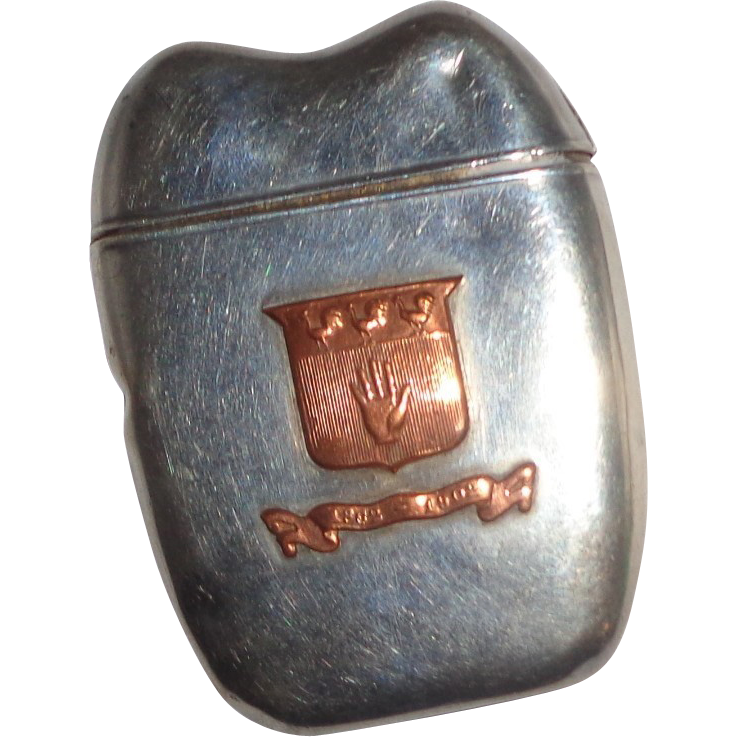 Antique Sterling Silver And Copper Fraternal Order Match Safe (Vesta), With Heraldic Shield, Three Cockerels, And An Open Hand circa 1902