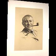 Samuel Johnson Woolf Signed Original Charcoal Drawing Of Owen J. Roberts, Circa 1935