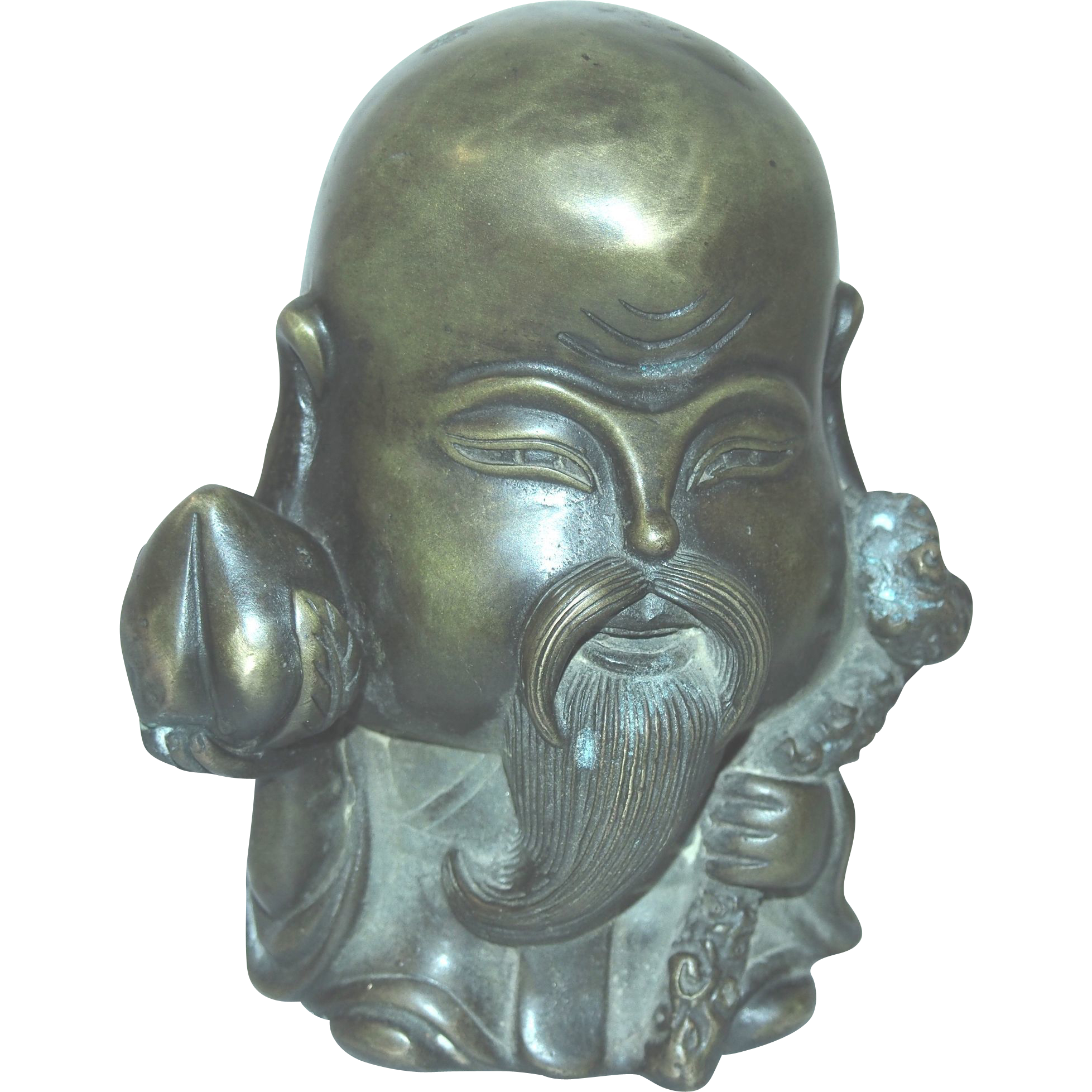 Chinese Bronze Statue or Paperweight Of Taoism Deity of Longevity