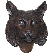 D. H. Turner (20th Century American) Limited Edition Bronze Bust Of A Bobcat, Signed and Numbered