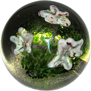 Large Art Glass Floral Paperweight
