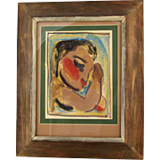 "Gertrude Felton Harbart (American, 1908 - 1999) Signed Original Mixed Media On Paper, ""Portrait Of A Girl"""