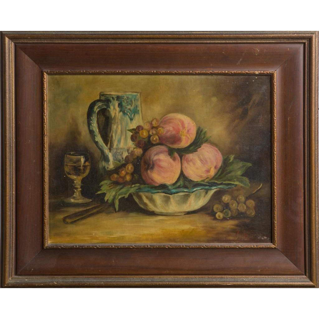 19th Century Signed Original Oil On Canvas, Still Life