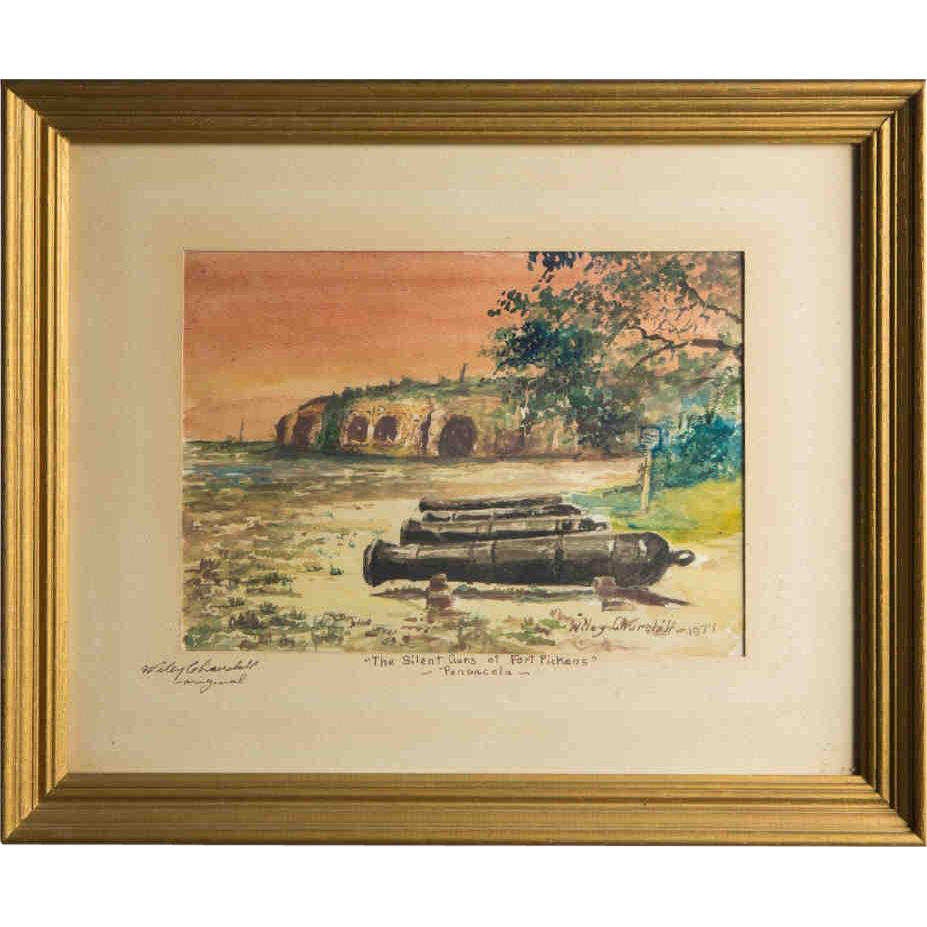 "WILEY CHURCHILL (American, 1900-1987) Signed Original Watercolor ""The Silent Guns of Fort Pickens, Pensacola"" c. 1974"