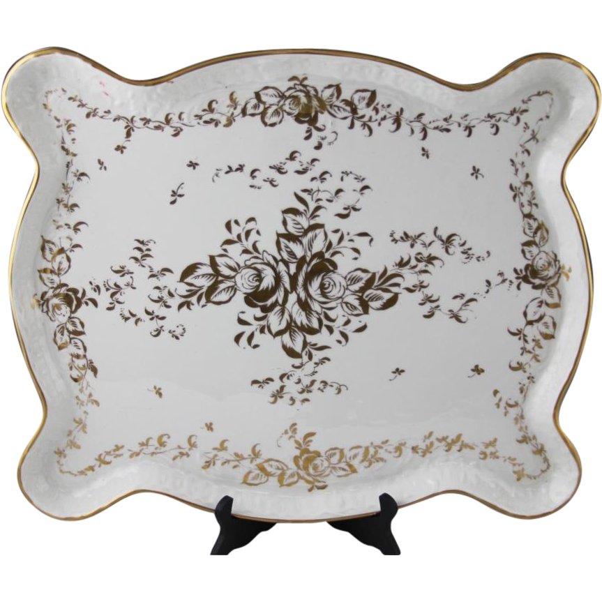 Limoges France Hand-Painted Porcelain Tray, with Maker's Mark, 'Hand Painted', and 'Made In France' on Underside.