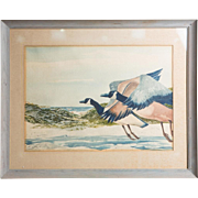 Original Large Watercolor, Signed, By Noted Artist and Illustrator  William Sauts Netamuxwe Bock (Native American b.1939)