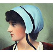 Hand-Painted Portrait Of A Colonial Woman, Oil On Wood, Round, Wall Hanging