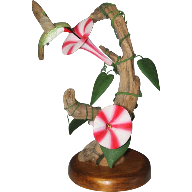 JEFF WHITE (American - 20th Century) Original Hand-Carved Wood Sculpture Of A Ruby Throated Hummingbird, Signed/Dated c 1988