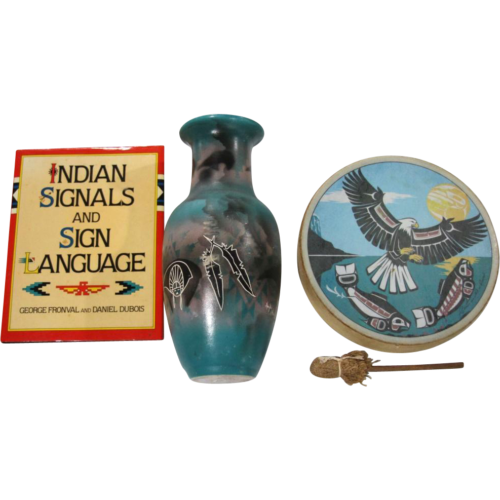"Native American Vase (Hand-Painted Hozoni), Drum (With Eagle and scenery) and Book ( ""Indian Signals and Sign Language"")"