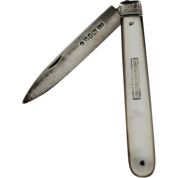 Victorian Sterling Silver and Mother-Of-Pearl Aaron Hadfield Pocket Knife, Hallmarked