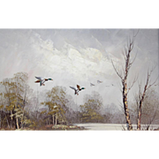 "Signed Oil On Canvas  - ""Ducks In Flight Over A Woodland Pond"""