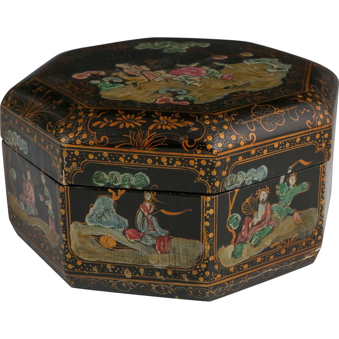 Antique Chinese Lacquered Octagonal Wedding Box, C. 1900