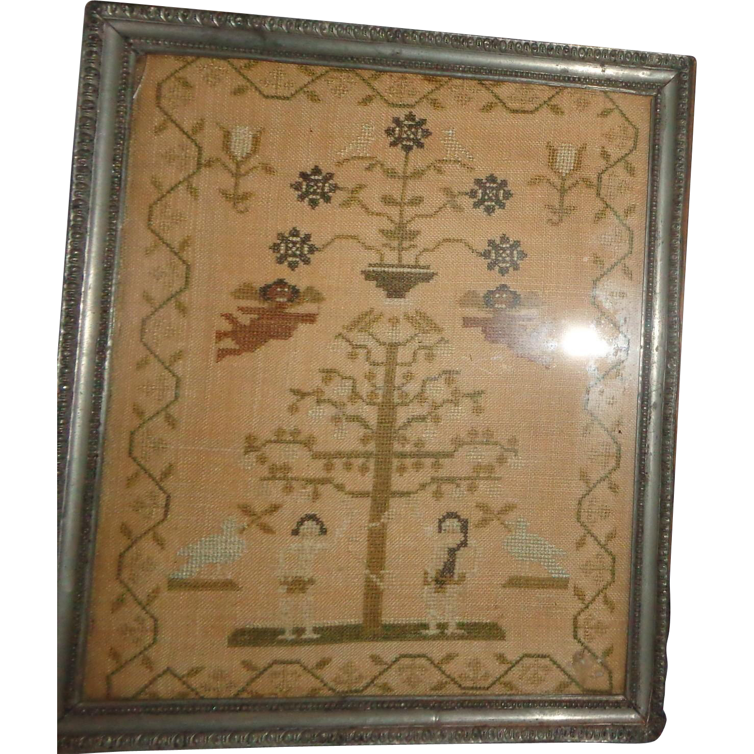 "Circa 1815 Sampler ""The Fall And Redemption of Man"" From The Collection Of J. L. Middleton, The Old Palace, Richmond, Surrey, England"