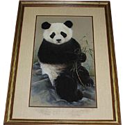 Original Mixed Media Painting of Panda Bear With Bamboo, Signed/Dated Maury, '86