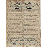 "Antique Sampler,  Signed ""Sophia Patch""  featuring urns, floral designs and verses, ""Memento Mori"""