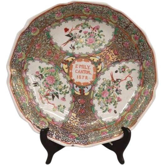 "Canton Plate Marked ""EMILY.  CANTON 1879"". Marked underside. 12 1/2"" D."