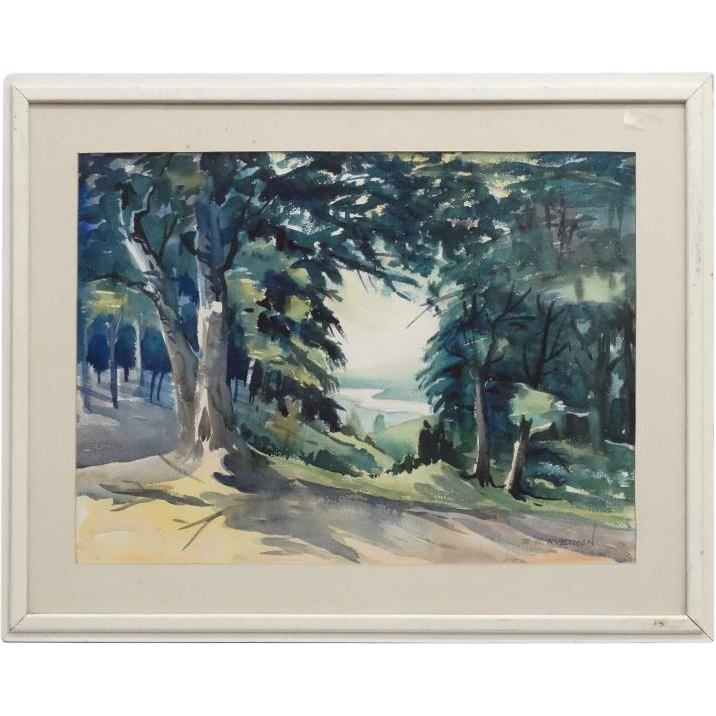 Very Large Original Watercolor, Signed Elbert W. Ryerson (Elmira, N. Y. - 20th Century)