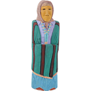 "J. Antonio (Navajo, B. 1931) - Original Signed/Dated Carving - ""Woman In Striped Green Shawl"""