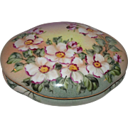 Lidded Dresser Box With Colorful Flowers And Buds