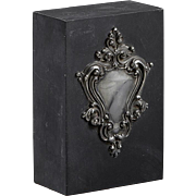 Slate Paperweight With Silverplated Cartouche, C. 1900