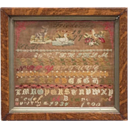 "Antique Needlework Sampler, With Animals, Alphabet, and Numbers, Signed/Dated ""Friederike 1877"""
