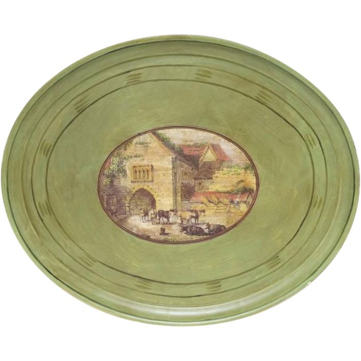 Large Oval Hand-Painted Tray With Medallion-Type Center With Bucolic Scene
