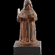 Antique Cast White Metal Monk Match Safe (Vesta) with Marble Base