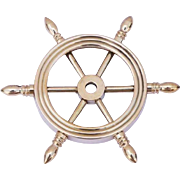 Nautical Solid Brass Ship Wheel Paperweight