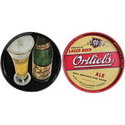 TWO Vintage Beer Trays  - Tuborg Beer and Ortlieb's Ale