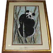 Original Mixed Media Painting of Panda Bear Climbing Among The Bamboo, Signed Maury (American 20th Century)
