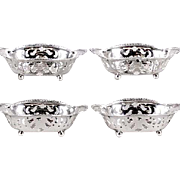 FOUR Tiffany & Co Sterling Silver Nut Dishes, Ball Feet, Gadrooned (Beaded) Edges