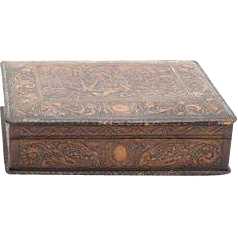 Dutch Tooled Leather Table Casket or Dresser Box With Medieval Battle Scene