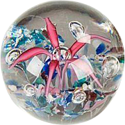 "Large ""Fireworks"" Art Glass Paperweight, Rose to Deep Rose Colored, With Multi-Colored 'Stone"" Ground and Well Placed Art Bubbles"