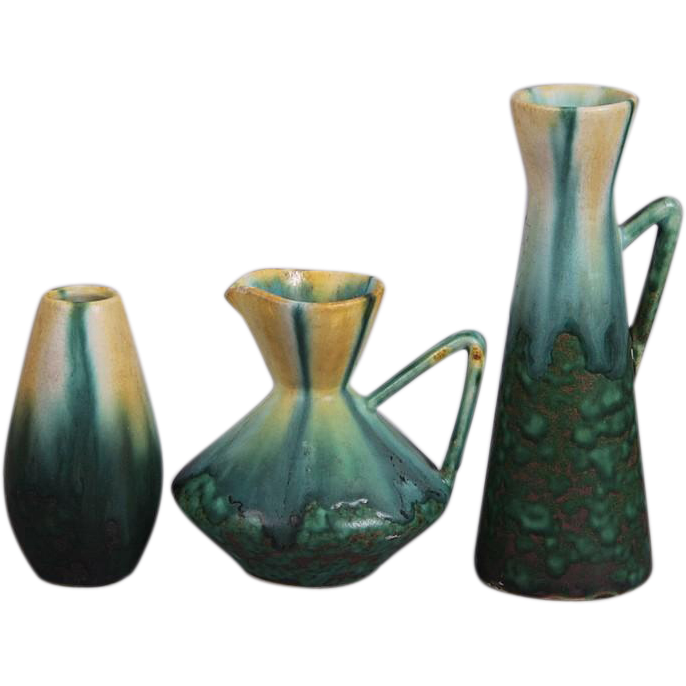 THREE Lovely Pieces of Belgian Art Pottery