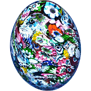 Very Large Murano Art Glass Millefiori Egg Paperweight