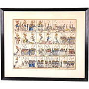 Uncut Sheet of Playing Cards, 19th Century, Hand-Colored