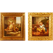 Pair Of 19th Century Italian Oil Paintings Of Children With Dogs - Red Tag Sale Item
