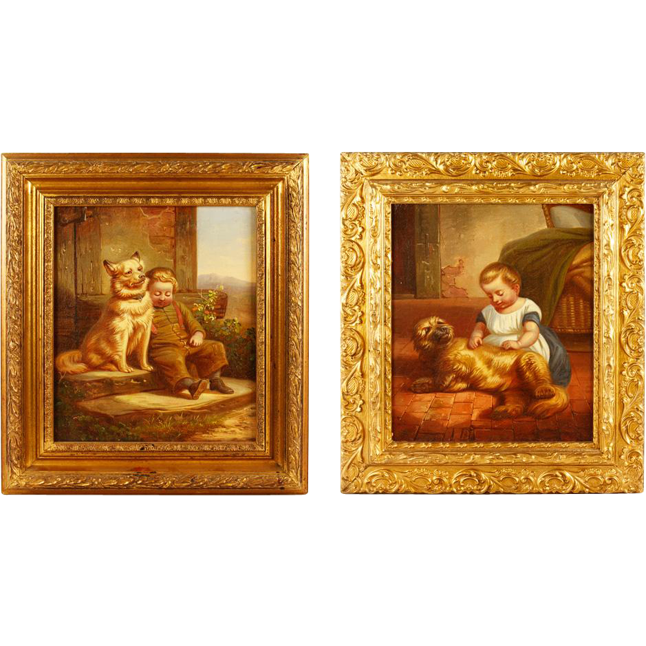 Pair Of 19th Century Italian Oil Paintings Of Children With Dogs