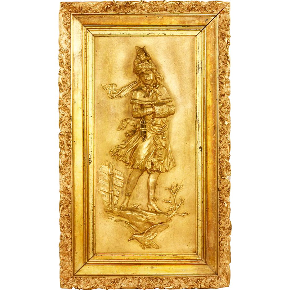 19th Century Large Austrian Plaque Of A Young Girl, Signed