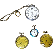FOUR Vintage Pocket Watches - 14 karat Gold-Filled Stuyvesant,  Waltham, Lady Tess, and Burlington Special AS IS