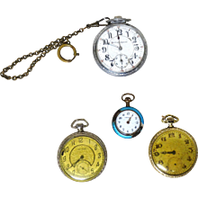 FOUR Vintage Pocket Watches - 14 karat Gold-Filled Stuyvesant,  Waltham, Lady Tess, and Burlington - Red Tag Sale Item