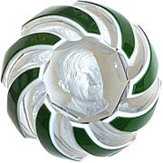 Baccarat - Will Rogers Double Overlay Sulfide Paperweight