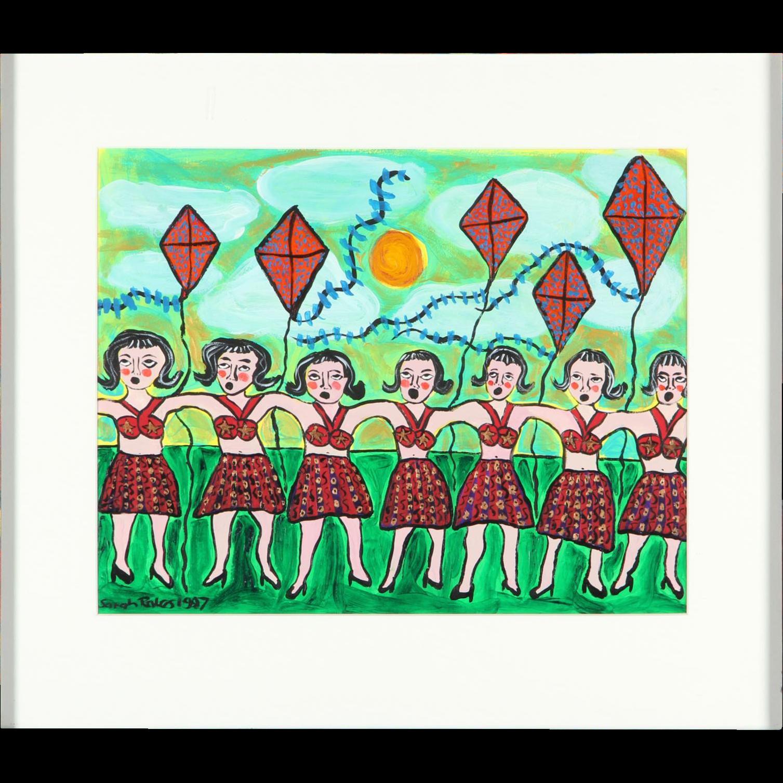 """SARAH RAKES (American b. 1955) Original Oil """"Paperdolls Dancing With Kites"""""""