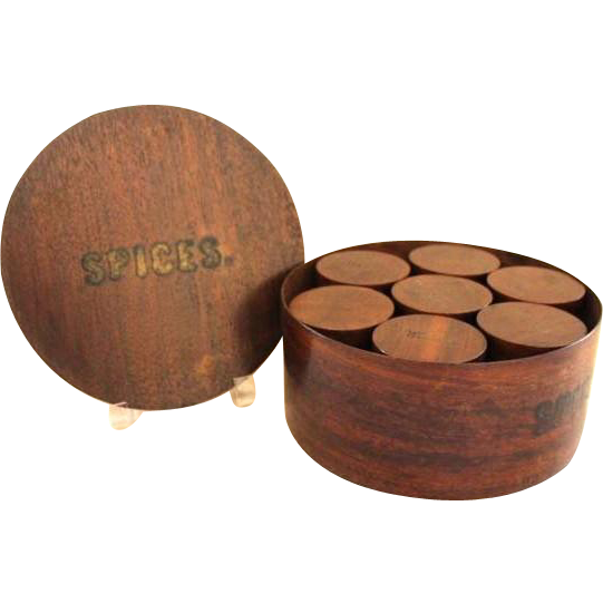 Round Wooden Lidded Spice Box With Wooden Lidded Spice Containers Inside