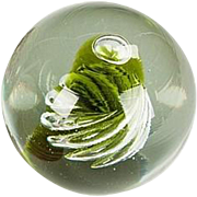Green Spiral With Central Top Bubble Art Glass Paperweight